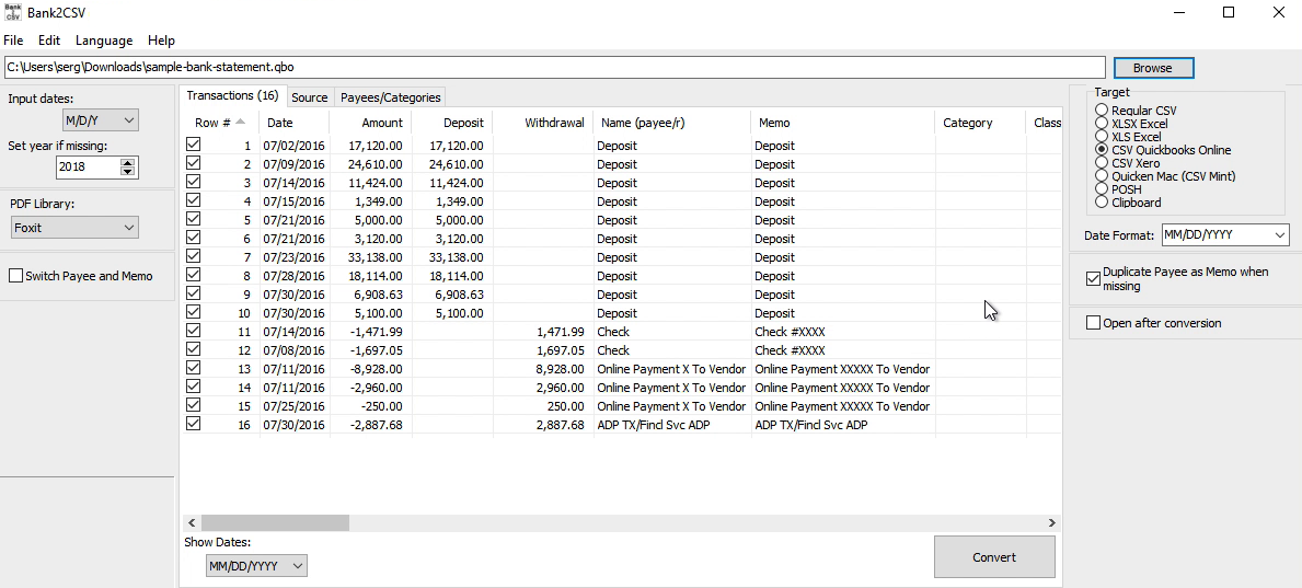 Bank2CSV Windows Step 2: review transactions before converting