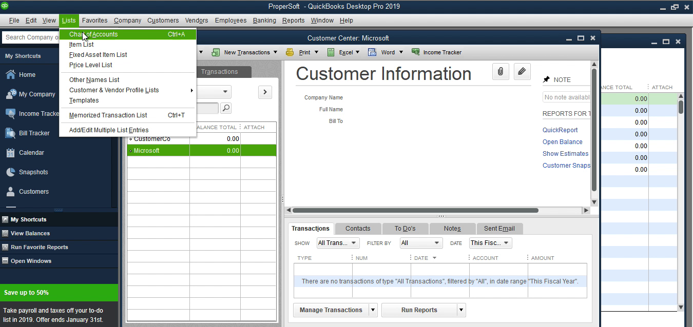 Bank2IIF Windows Step 11: lists, charts of accounts in Quickbooks