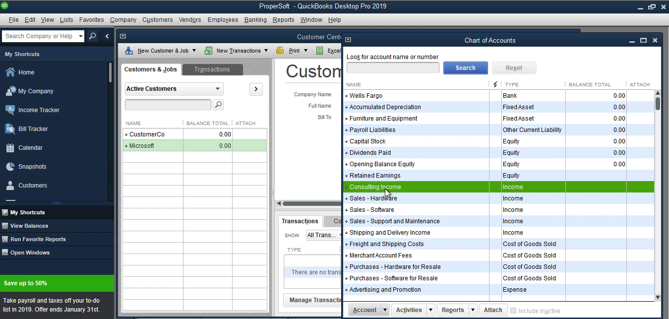 Bank2IIF Windows Step 14: consulting income in Quickbooks
