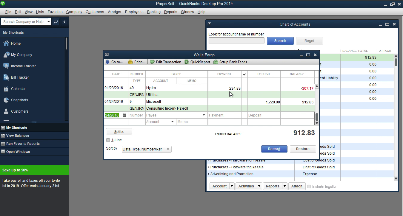 Bank2IIF Windows Step 21: Review transactions after importing in Quickbooks