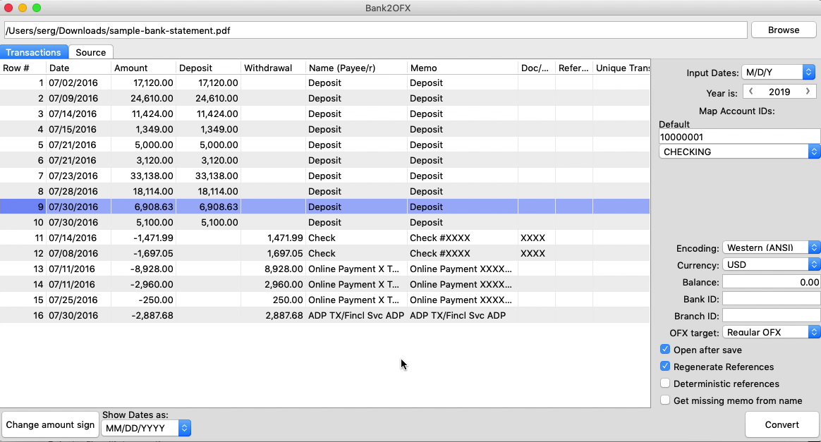 Bank2OFX Mac Step 2: review transactions before converting