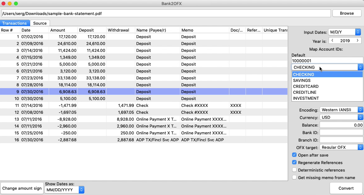 Bank2OFX Mac Step 3: Account ID and Account Type