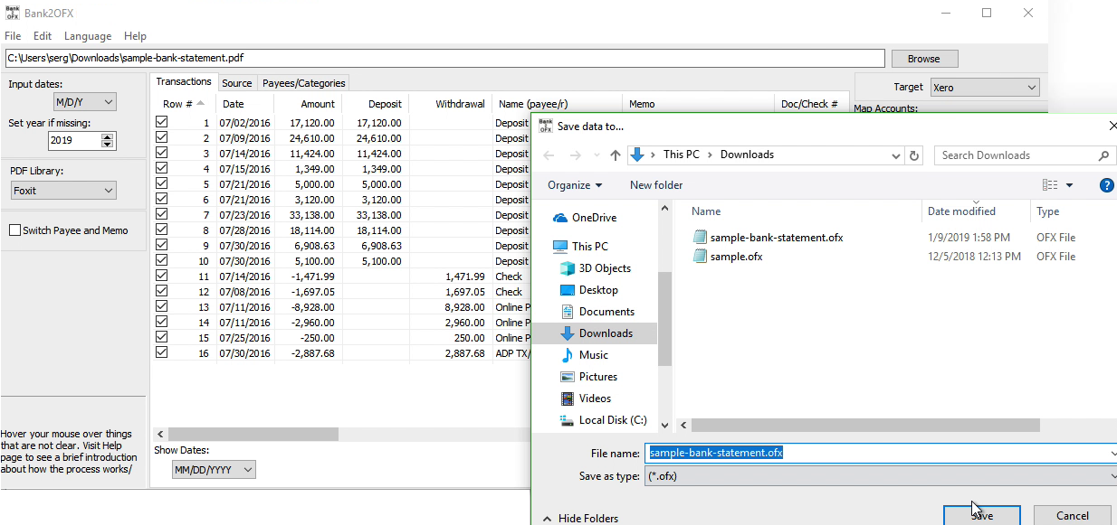 Bank2OFX Windows Step 8: file name and location, save