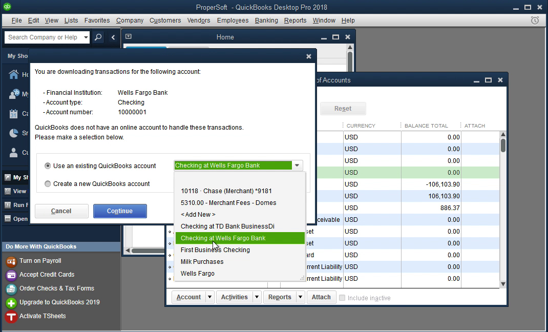 Bank2QBO Windows Step 13: select an existing account in Quickbooks