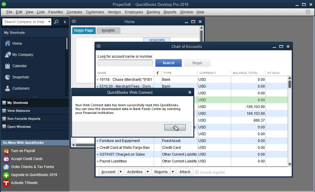 Bank2QBO Windows Step 14: data is imported in Quickbooks