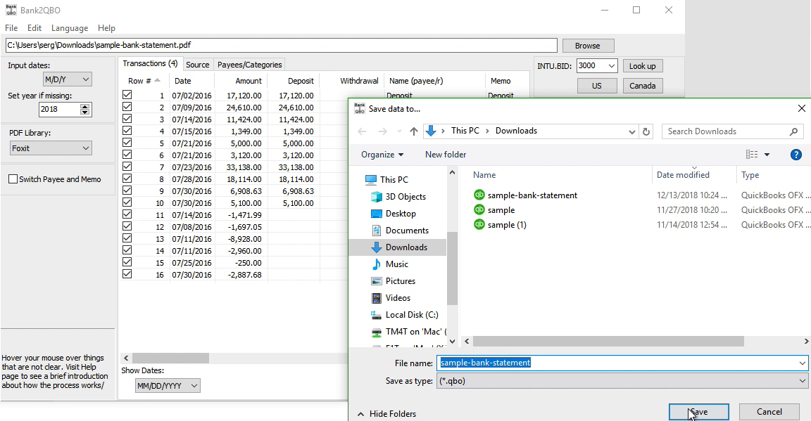 Bank2QBO Windows Step 7: file name and location, save