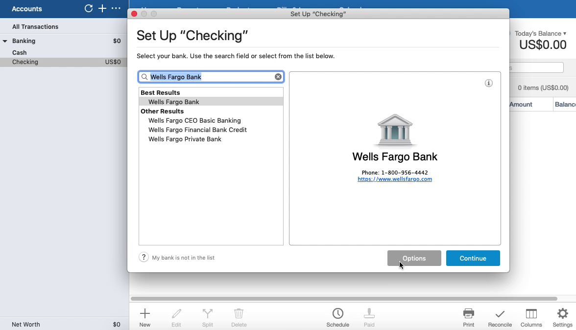 Bank2QFX Mac Step 10: Options button in Quicken