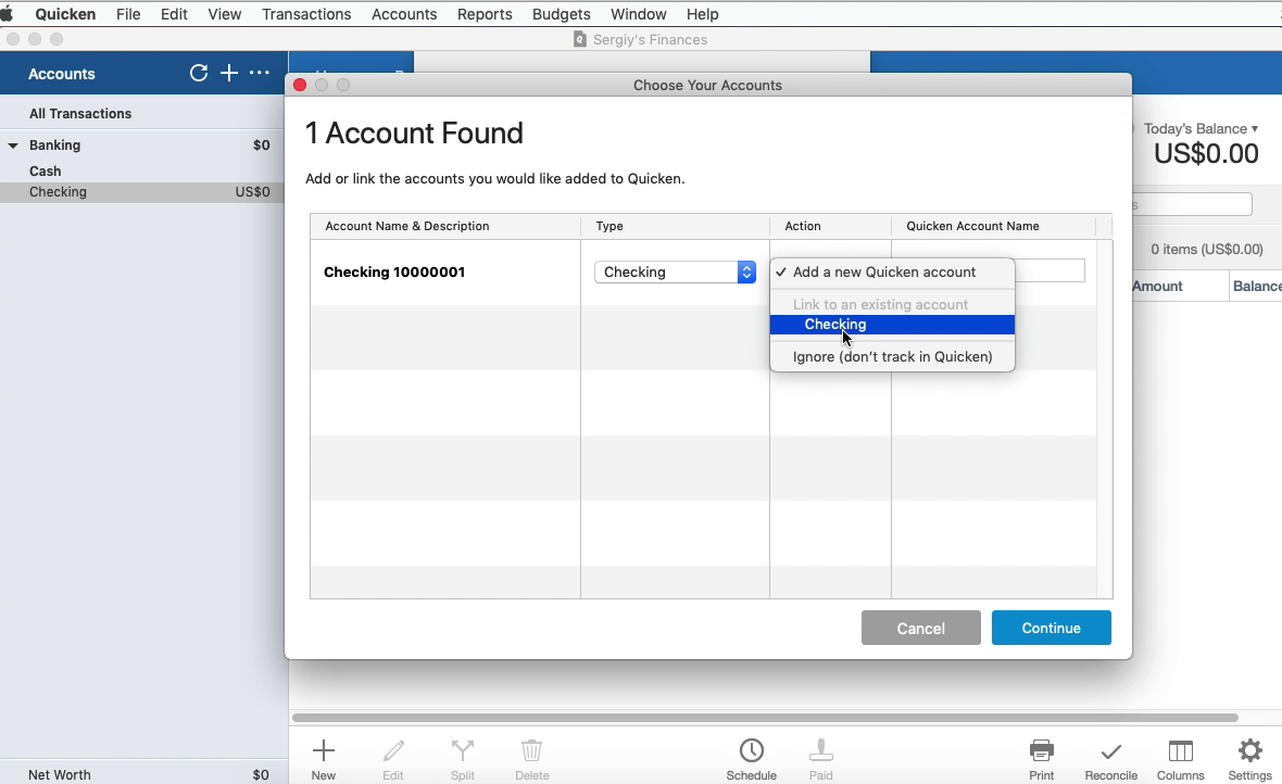Bank2QFX Mac Step 17: select an existing account in Quicken