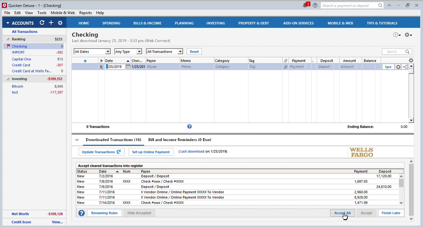 Bank2QFX Windows Step 15: accept all transactions in Quicken