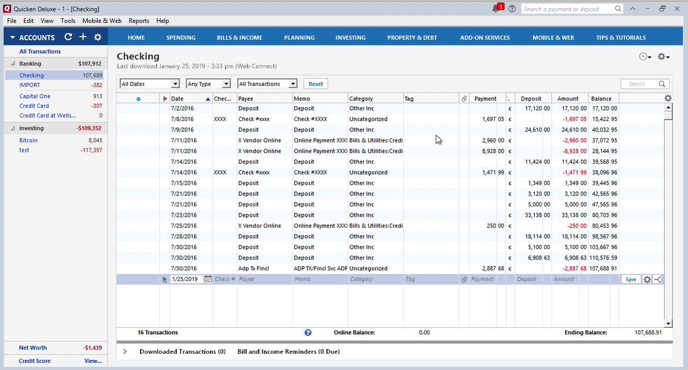 Bank2QFX Windows Step 16: review transactions in Quicken