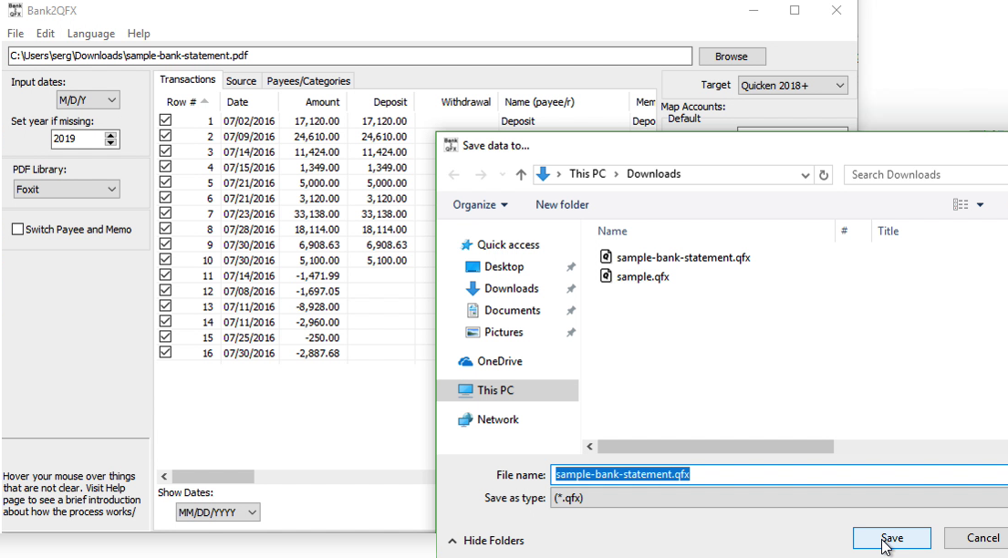 Bank2QFX Windows Step 8: file name and location, save