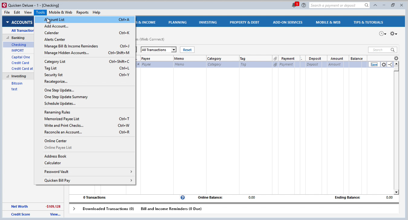 Bank2QFX Windows Step 9: tools, account list in Quicken