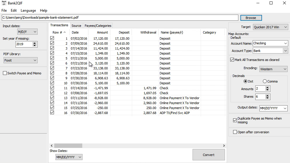 Bank2QIF Windows Step 2: Review transactions before converting