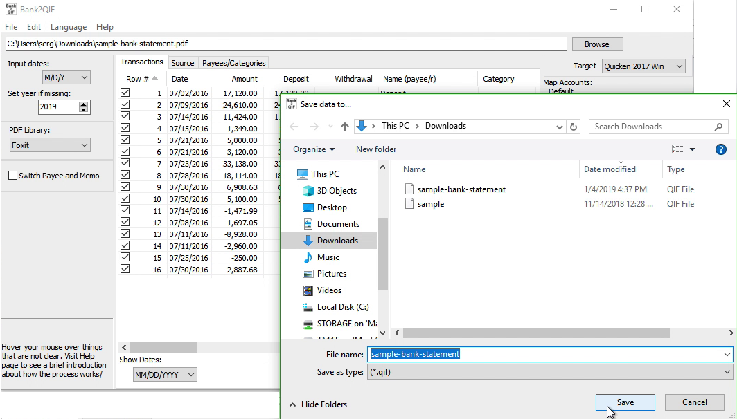 Bank2QIF Windows Step 7: file name and location, save