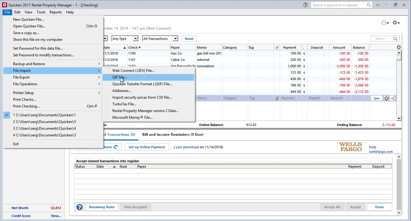 Bank2QIF Windows Step 8: file import in Quicken