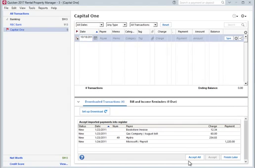 How to convert CSV or Excel file to QIF and import into Quicken 2017 for PC Step 29: capital one, data imported
