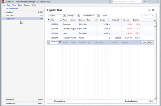 How to convert CSV or Excel file to QIF and import into Quicken 2017 for PC Step 30: capital one, review after import