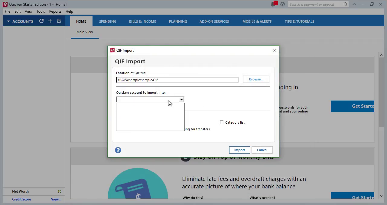 Convert CSV/Excel to QIF and import into Quicken 2018 Starter Edition for PC Step 11: empty all account