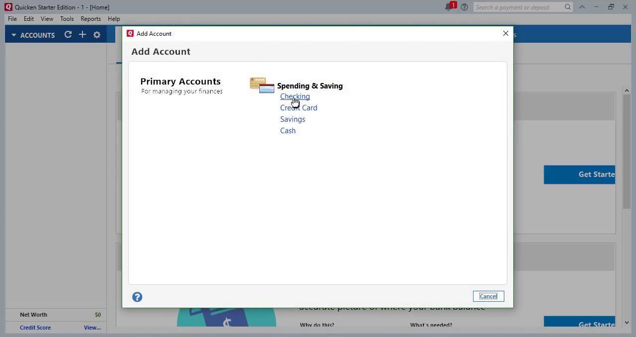 Convert CSV/Excel to QIF and import into Quicken 2018 Starter Edition for PC Step 13: Select Checking account