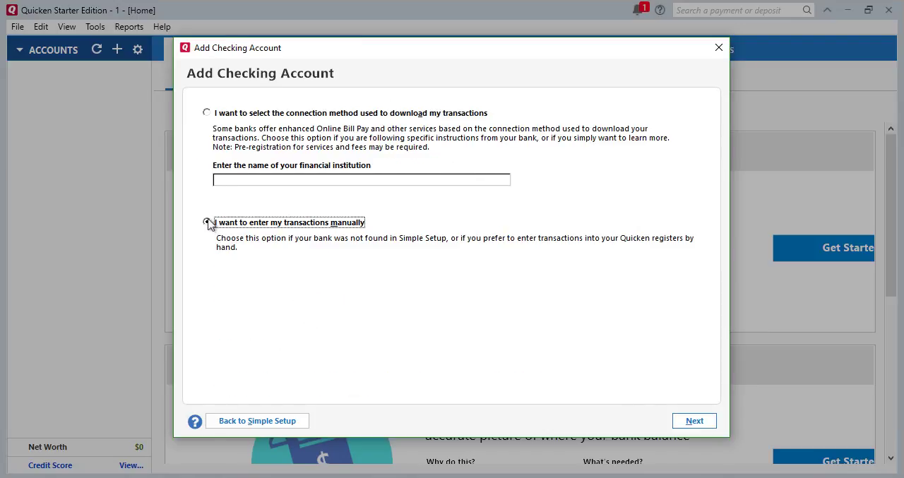 Convert CSV/Excel to QIF and import into Quicken 2018 Starter Edition for PC Step 15: enter my transactions manually