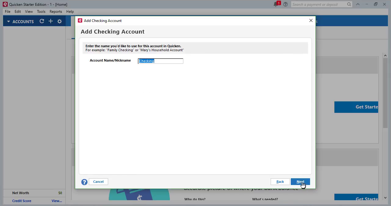 Convert CSV/Excel to QIF and import into Quicken 2018 Starter Edition for PC Step 16: account name checking
