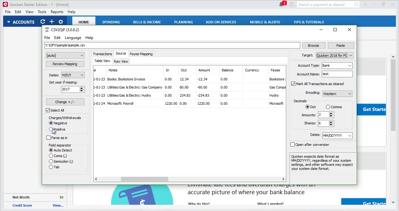 Convert CSV/Excel to QIF and import into Quicken 2018 Starter Edition for PC Step 6: charges