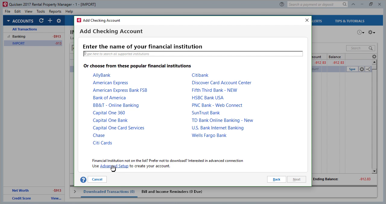 How to convert OFX to QFX (Web Connect) and import into Quicken Step 13: choose bank