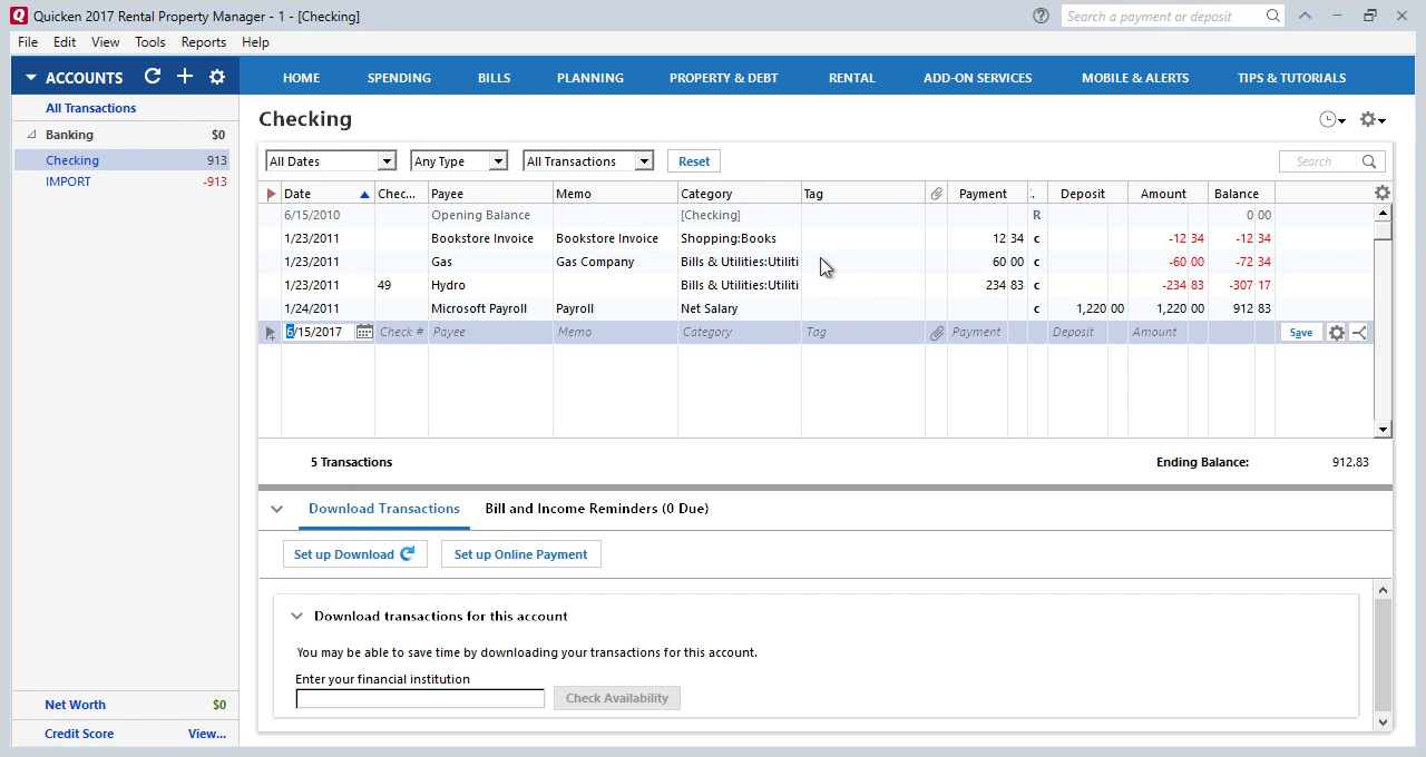 How to convert OFX to QFX (Web Connect) and import into Quicken Step 16: moved transactions