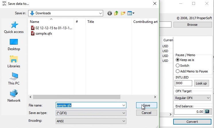 How to convert OFX to QFX (Web Connect) and import into Quicken Step 4: create qfx
