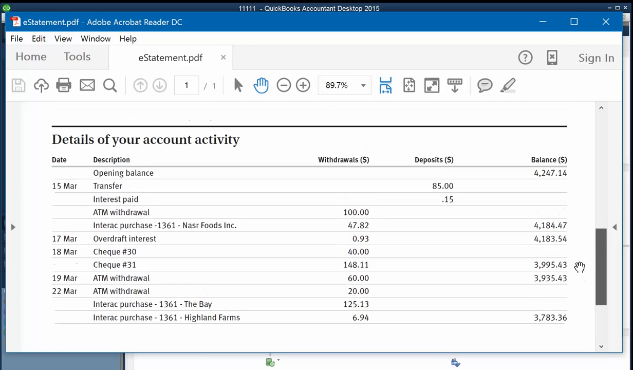 Convert PDF to QBO and upload into Quickbooks Step 2: sample pdf file, details