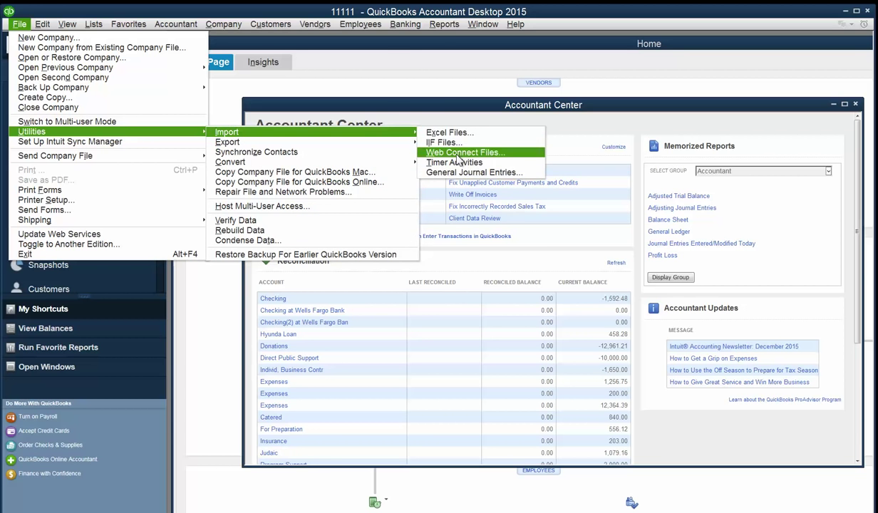 Convert PDF to QBO and upload into Quickbooks Step 5: file, import