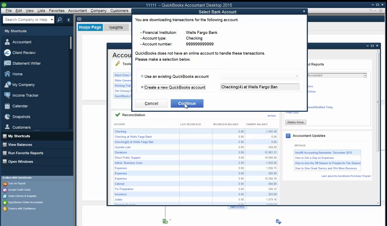 Convert PDF to QBO and upload into Quickbooks Step 6: create new account