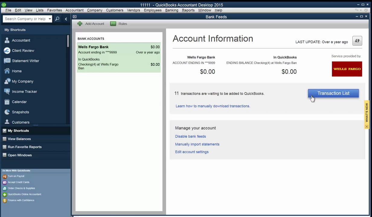 Convert PDF to QBO and upload into Quickbooks Step 9: transaction list