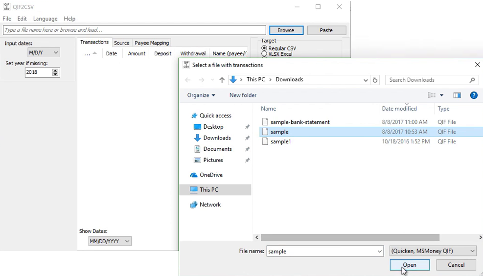 Convert a QIF file to CSV/Excel format Step 1: sample qif file
