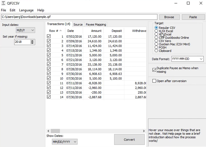 Convert a QIF file to CSV/Excel format Step 5: target