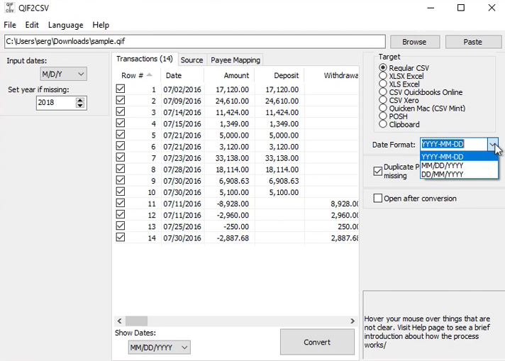 Convert a QIF file to CSV/Excel format Step 6: date format