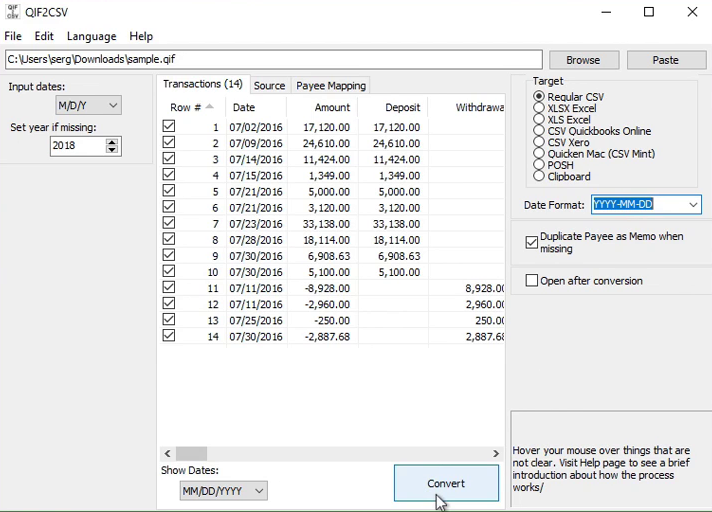 Convert a QIF file to CSV/Excel format Step 7: convert
