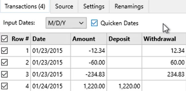 How to convert a QIF file Step 4: Quicken Dates