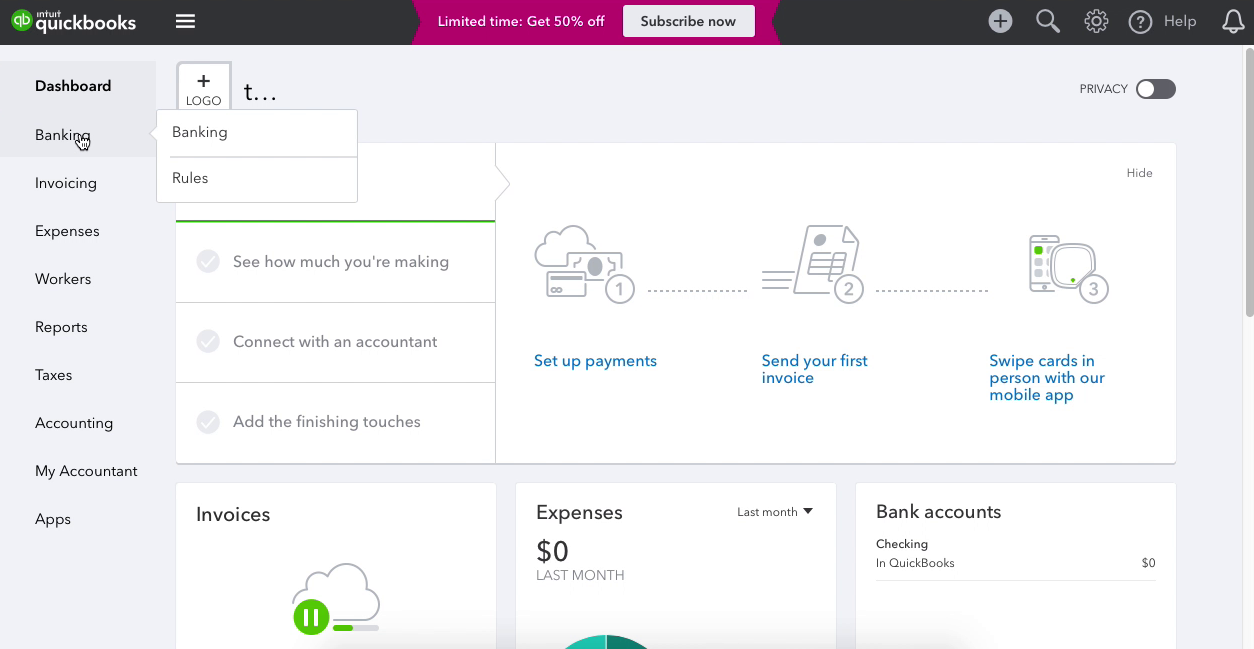 click Banking in Quickbooks