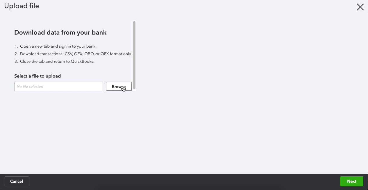 Browse and select created CSV file in Quickbooks