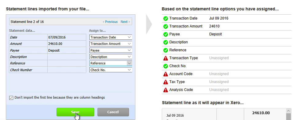 Step 10: click save in Xero