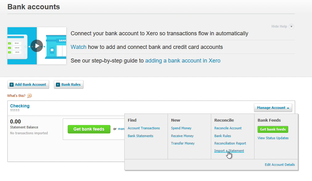 Step 3: Manage Account in Xero
