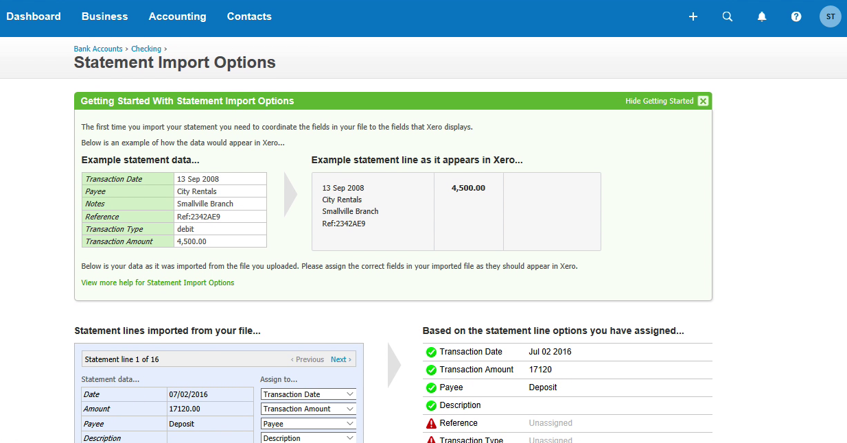 Step 6: statement import options in Xero