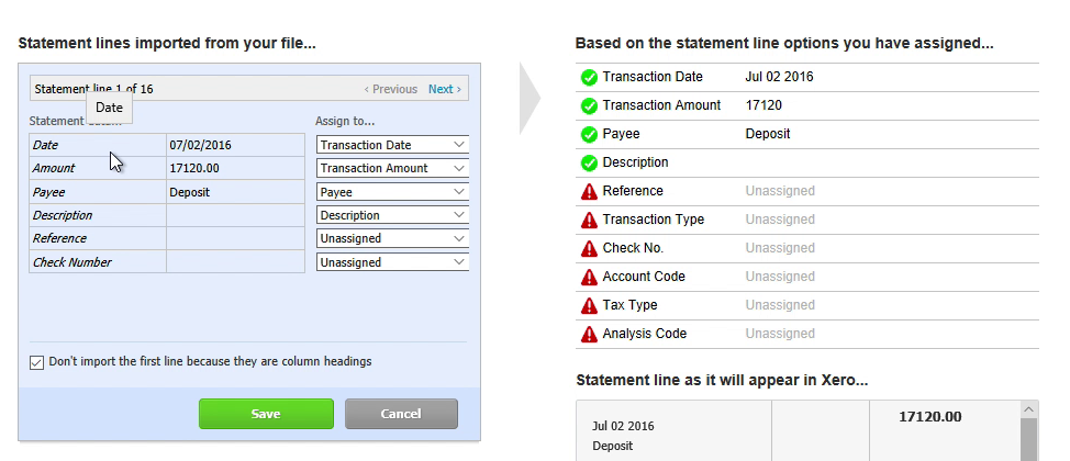 Step 7: date, amount, payee in Xero