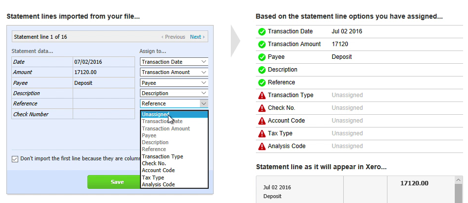 Step 8: reference, check number in Xero