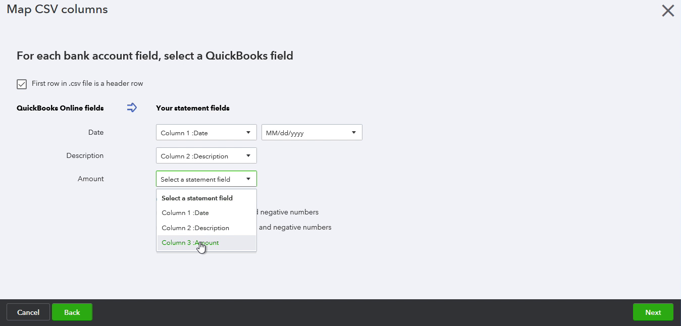 CSV2CSV Windows Step 12: Confirm the mapping in Quickbooks