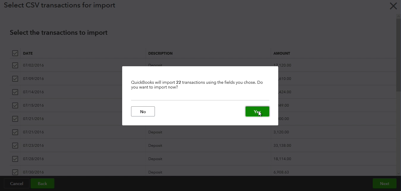 CSV2CSV Windows Step 13: Review transactions before importing in Quickbooks