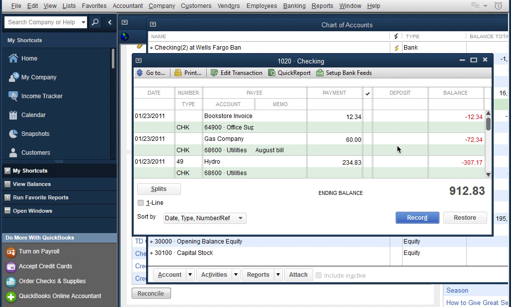 CSV2IIF Windows Step 10: Review transactions after importing in Quickbooks