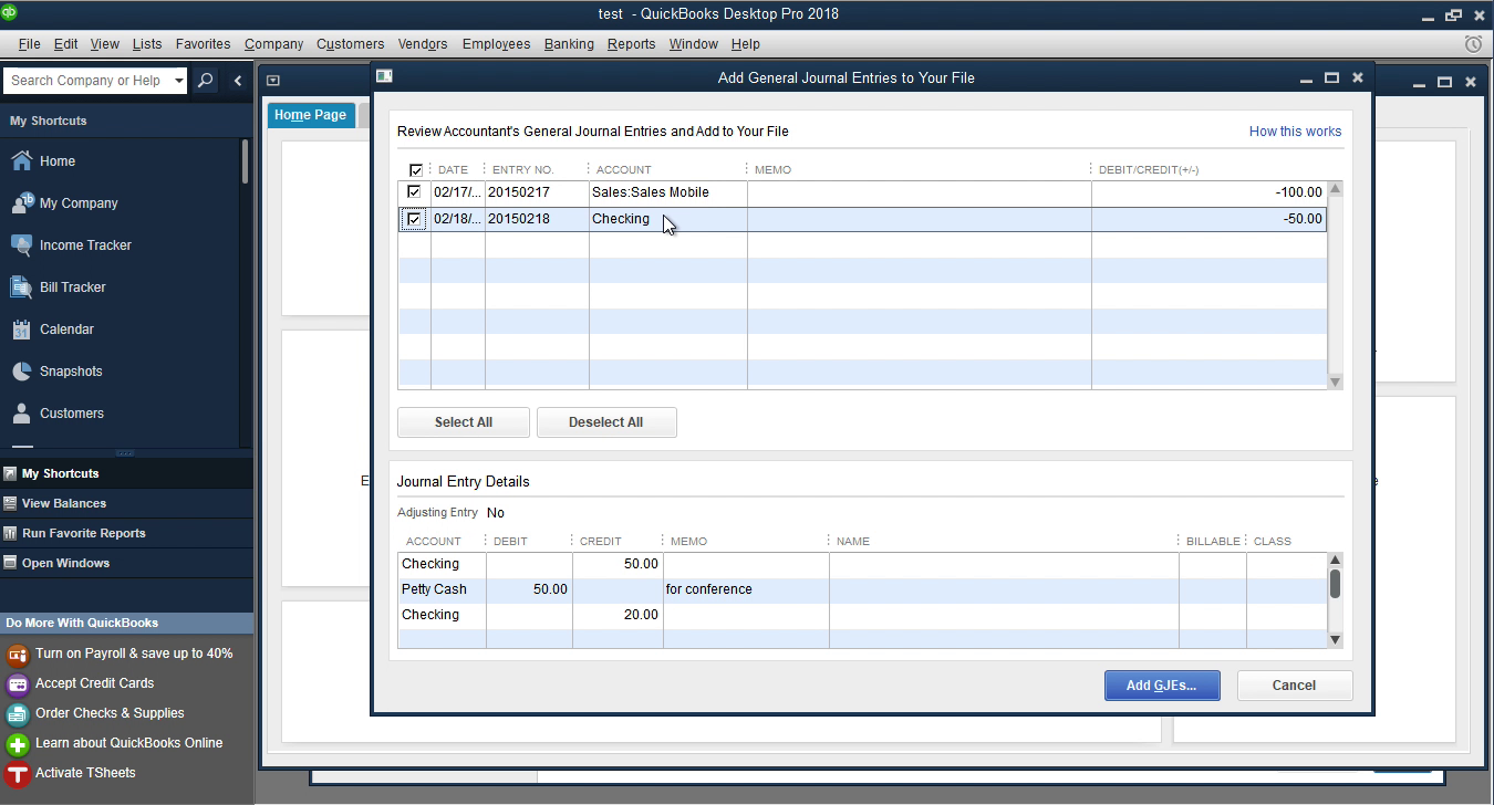 CSV2QBJ Windows Step 7: review entries before importing in Quickbooks