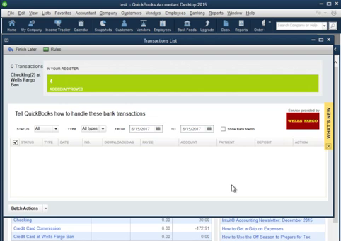 CSV2QBO Import a CSV transaction file into Quickbooks Step 22: transactions imported